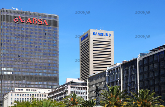 Bank ABSA und Samsung in Kapstadt, Südafrika, ABSA and Samsung in Cape Town, South Africa