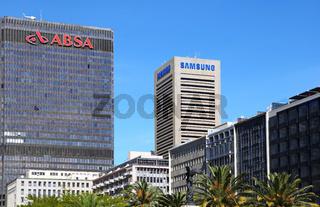 Bank ABSA und Samsung in Kapstadt, Südafrika, ABSA and Samsung in Cape Town, South Africa