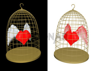 red heart in birdcage. 3d