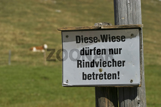 Schild in den Alpen, Diese Wiese duerfen nur Rindviecher betreten, Bayern, Deutschland, Europa, Warning sign at meadow in bavarian alps, Germany, Europe