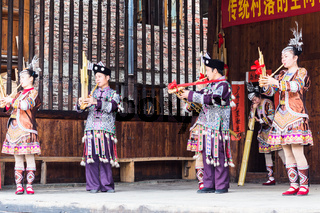 folk musician in Culture Show in Chengyang village