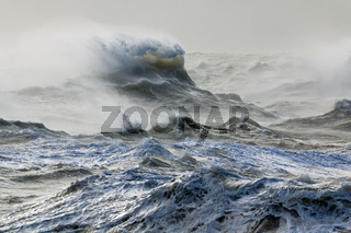 Storm Doris blowing spindrift from rough sea at Newhaven