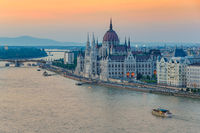 Budapest city skyline and Hungalian Parliament when sunset, Budapest, Hungary