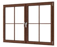 brown wooden window isolated on white background