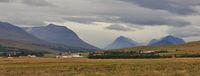Valley near Akureyri, Iceland. Rural landscape. Cloudy summer day.