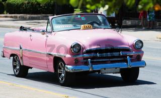 Pinkes Amerikanisches Cabriolet Classic Auto auf Straße in Havanna Kuba