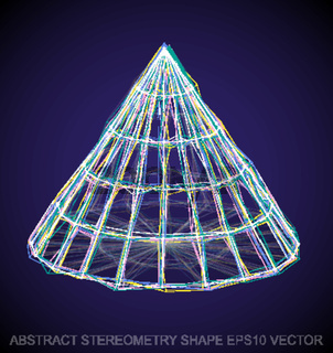 Abstract stereometry shape: Multicolor sketched Cone. Hand drawn 3D polygonal Cone. EPS 10, vector.