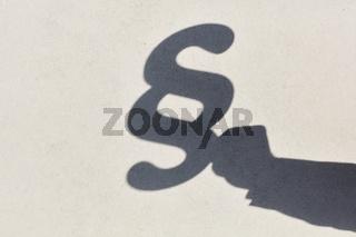Silhouette von Hand und Paragraph
