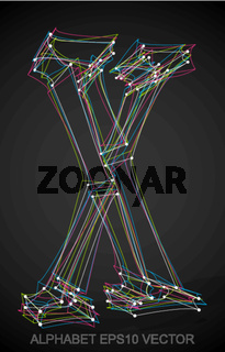 Vector illustration of a Multicolor sketched X. Hand drawn 3D X.