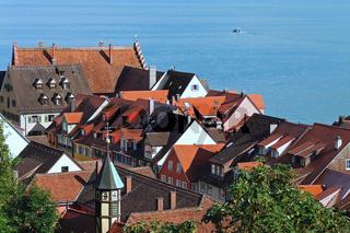 Blick auf die Hausdächer von Meersburg am Bodensee