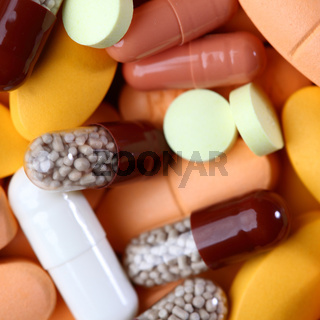 drugs and pills macro close up