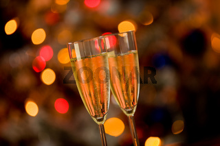 Champagner on Glass Table with Bokeh background