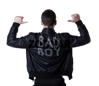 Bad boy portait striptease man in black jacket