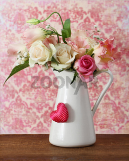 Bouquet of white and pink roses