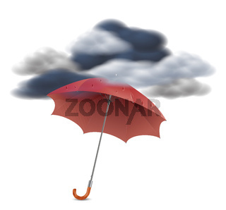 Security Concept - Umbrella Under The Clouds