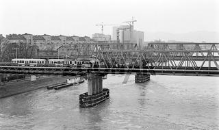Provisorische Brücken über die Donau in Wien
