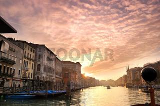 Beautiful sunset in water street