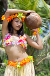 hawaii hula dancer with coconut