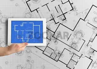 Digital tablet displaying blueprint