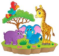 Cute African animals theme image 2 - picture illustration.