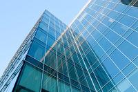 blue glass transparent wall of modern bulding house