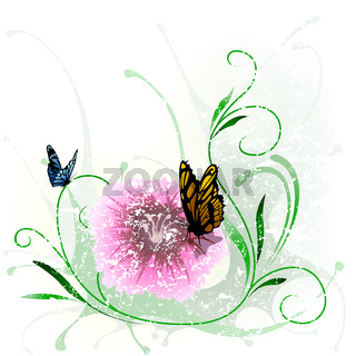 Floral Splash And Butterfly