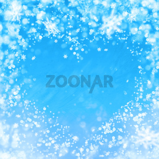 blue winter background with heart and snowflakes