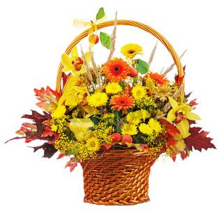 Colorful flower bouquet arrangement centerpiece in wicker basket isolated on white background.