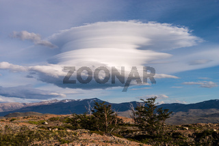 Cloud with fantastic shape seen in Torres del paine in Chile