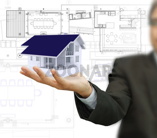 house model and plan on touch screen