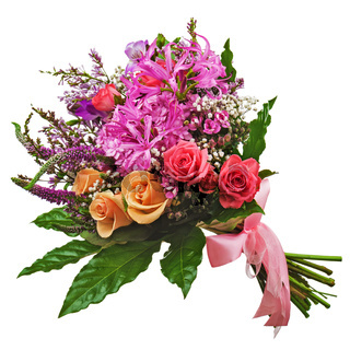 Floral bouquet of roses, lilies and orchids isolated on white background.
