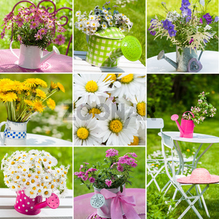 Blumen in Gießkannen - Collage