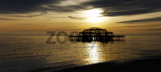 Panoramic view of the West Pier in Brighton at sunset