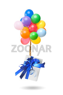 color balloons with gift isolated on white