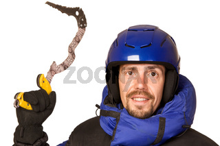 Climber man with chisel in hands up