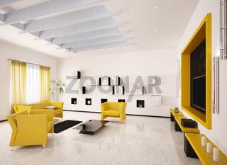 Interior of modern living room 3d render