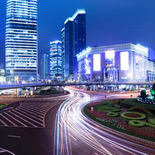 night of modern city in shanghai