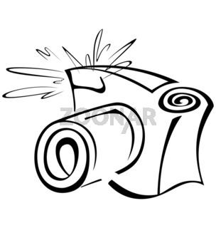 Black-and-white-contour-photo-camera