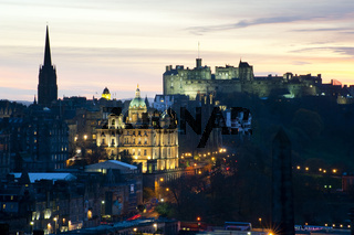 View of Edinburgh Castle at sunset
