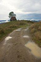 Weg zu einer Berghütte in den Karpaten
