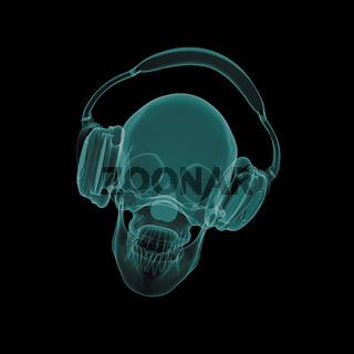 xray skull with headphones