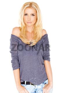 Beautiful trendy blond woman