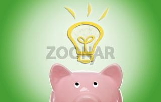 Piggy bank with idea light bulb