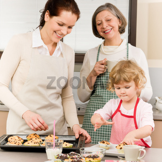 Family women baking cupcakes in kitchen