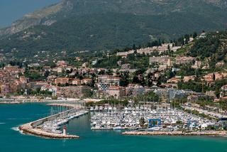 Marina in french mediterranean town Menton