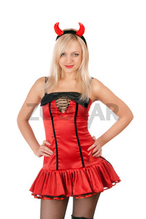 Nice blonde is wearing a sexy devil costume