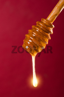 Spoon of honey on a colored background