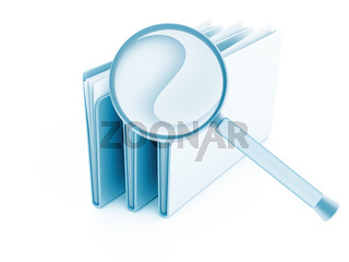 folders with papers under magnifier on a white background