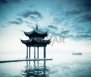 ancient pavilion on the west lake