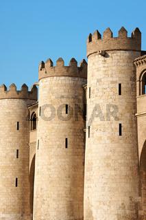 Detail of the Aljaferia Palace in Zaragoza, Spain
